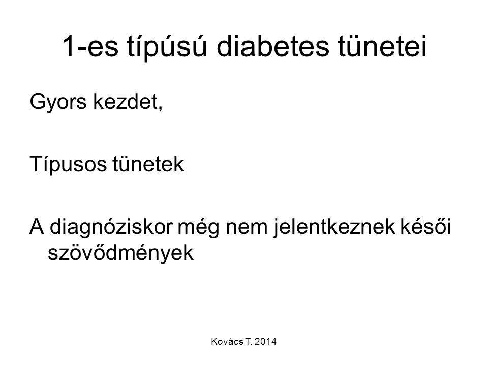 1-es típúsú diabetes tünetei Gyors kezdet, Típusos tünetek A diagnóziskor még nem jelentkeznek késői szövődmények Kovács T. 2014