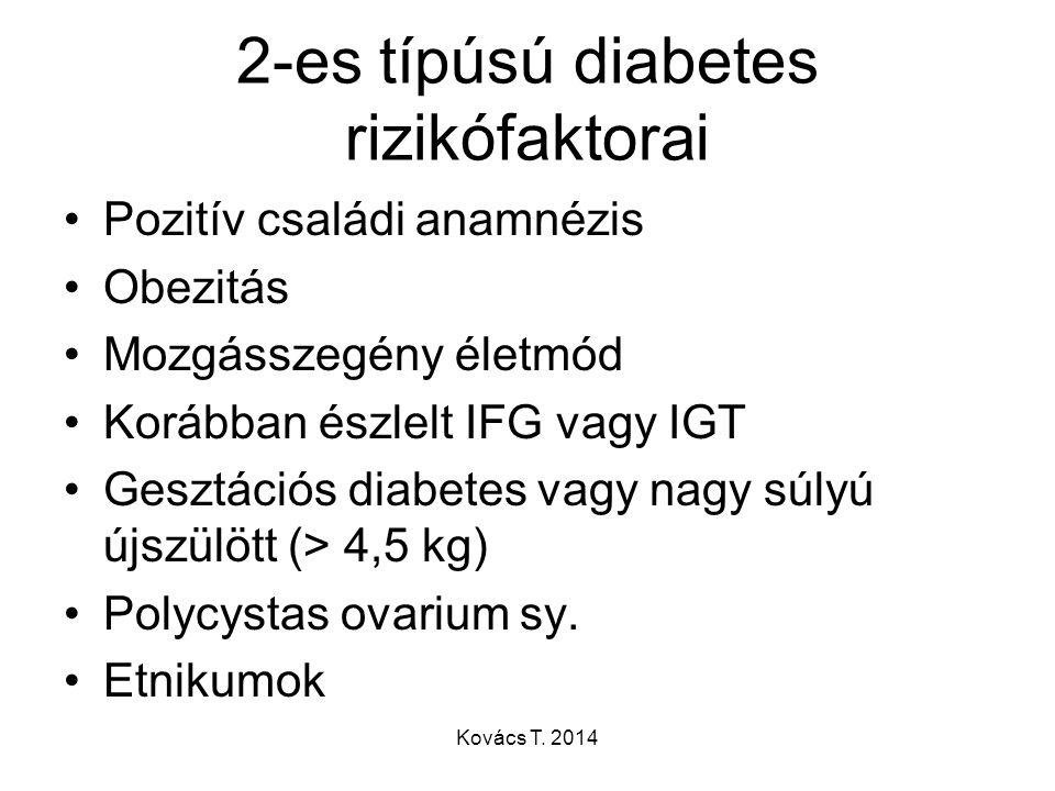 2-es típúsú diabetes rizikófaktorai Pozitív családi anamnézis Obezitás Mozgásszegény életmód Korábban észlelt IFG vagy IGT Gesztációs diabetes vagy na