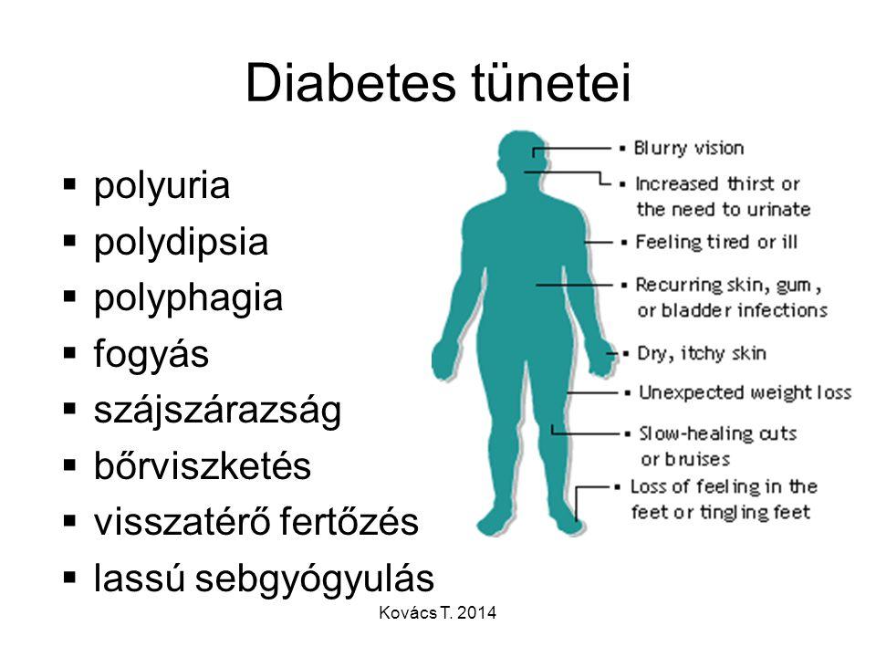 Diabetes tünetei  polyuria  polydipsia  polyphagia  fogyás  szájszárazság  bőrviszketés  visszatérő fertőzés  lassú sebgyógyulás Kovács T. 201