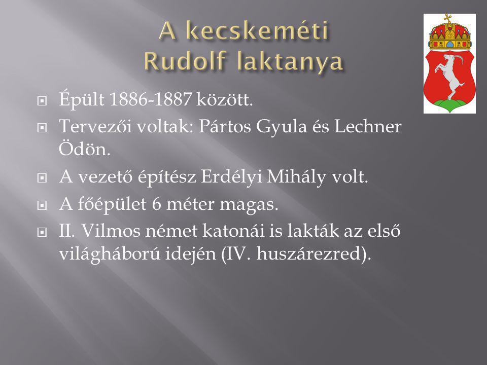  Épült 1886-1887 között.  Tervezői voltak: Pártos Gyula és Lechner Ödön.  A vezető építész Erdélyi Mihály volt.  A főépület 6 méter magas.  II. V