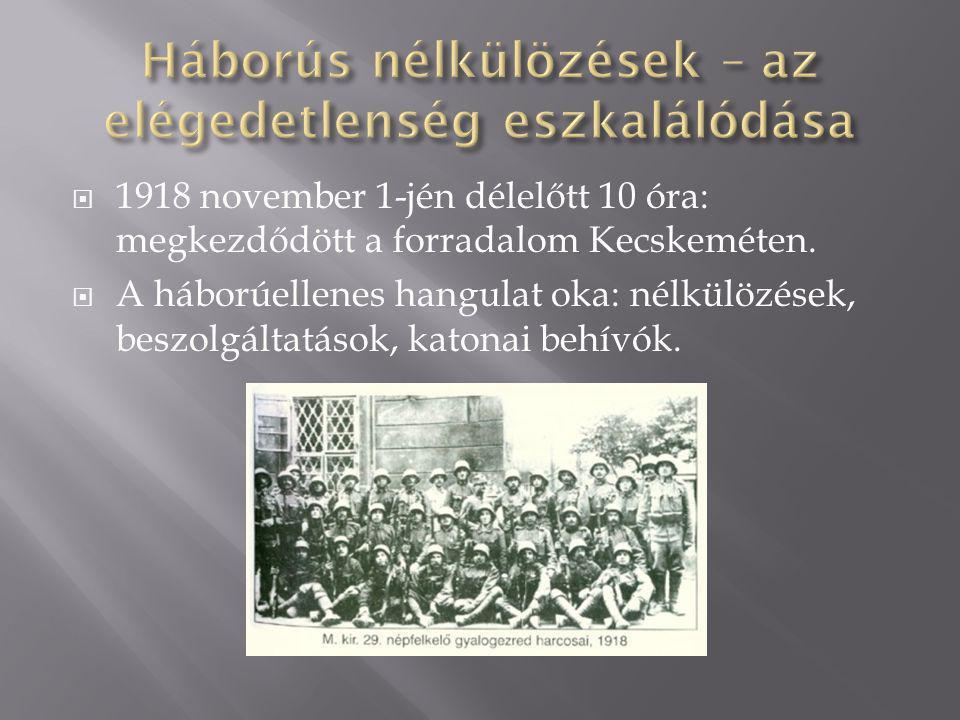  1918 november 1-jén délelőtt 10 óra: megkezdődött a forradalom Kecskeméten.  A háborúellenes hangulat oka: nélkülözések, beszolgáltatások, katonai