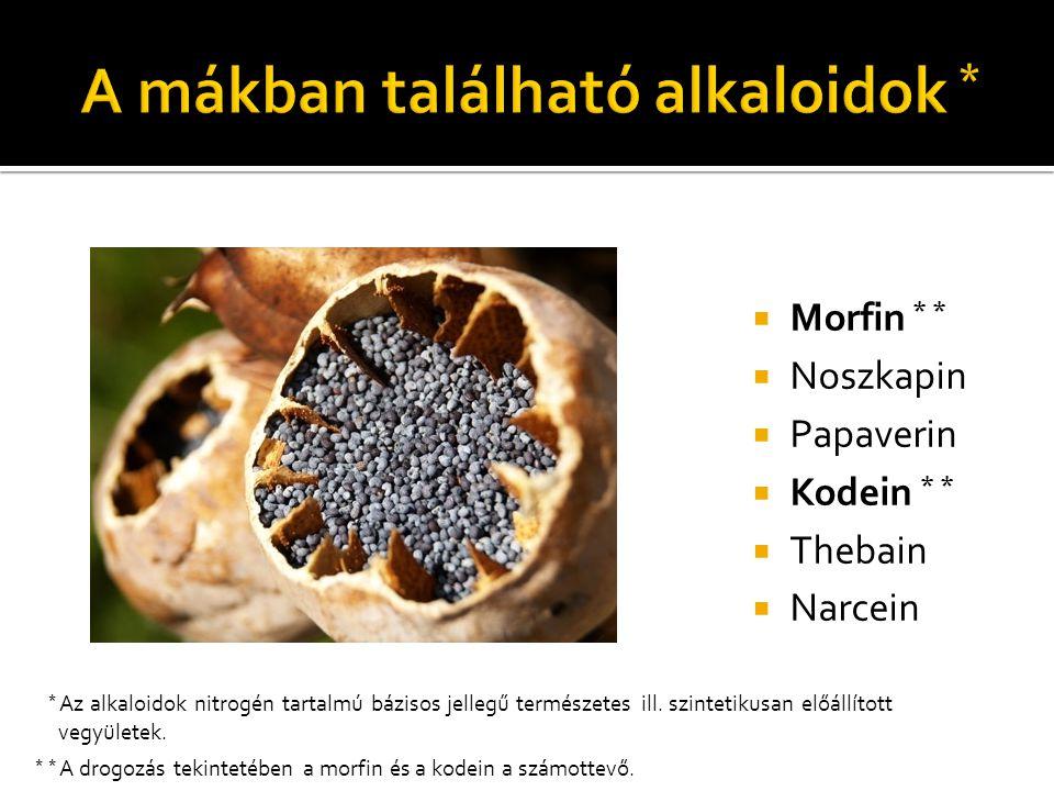  Morfin * *  Noszkapin  Papaverin  Kodein * *  Thebain  Narcein * * A drogozás tekintetében a morfin és a kodein a számottevő. * Az alkaloidok n