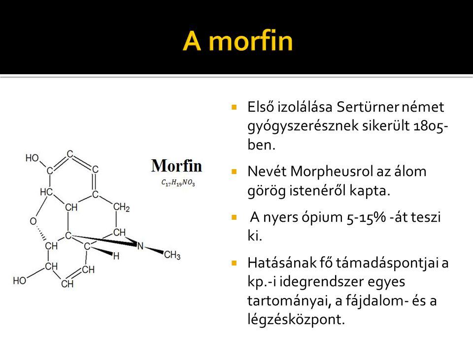  Első izolálása Sertürner német gyógyszerésznek sikerült 1805- ben.  Nevét Morpheusrol az álom görög istenéről kapta.  A nyers ópium 5-15% -át tesz