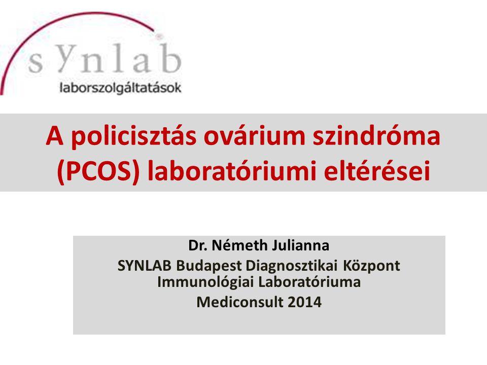 PCO/PCOS polycystás ovárium (ultrahangos fogalom) PCOS= polycystás ovárium szindróma, hyperandrogenic anovulation (HA), Stein-Leventhal szindróma (1935) functional ovarian hyperandrogenism, ovarian hyperthecosis, sclerocystic ovary syndrome ciszta= éretlen folliculus genetikai ok – örökölhető és örökíthető – autoszomális domináns öröklődés menet – mindkét szülőtől jöhet pubertás korban kezdődik reproduktív korú nők 5-10%-t érinti, WHO 2010: 160 millió nő világszerte 1990 consensus workshop: – oligoovuláció és vagy anovuláció – androgén túlsúly – nőgyógyászati ultrahangon polycystás ovárium