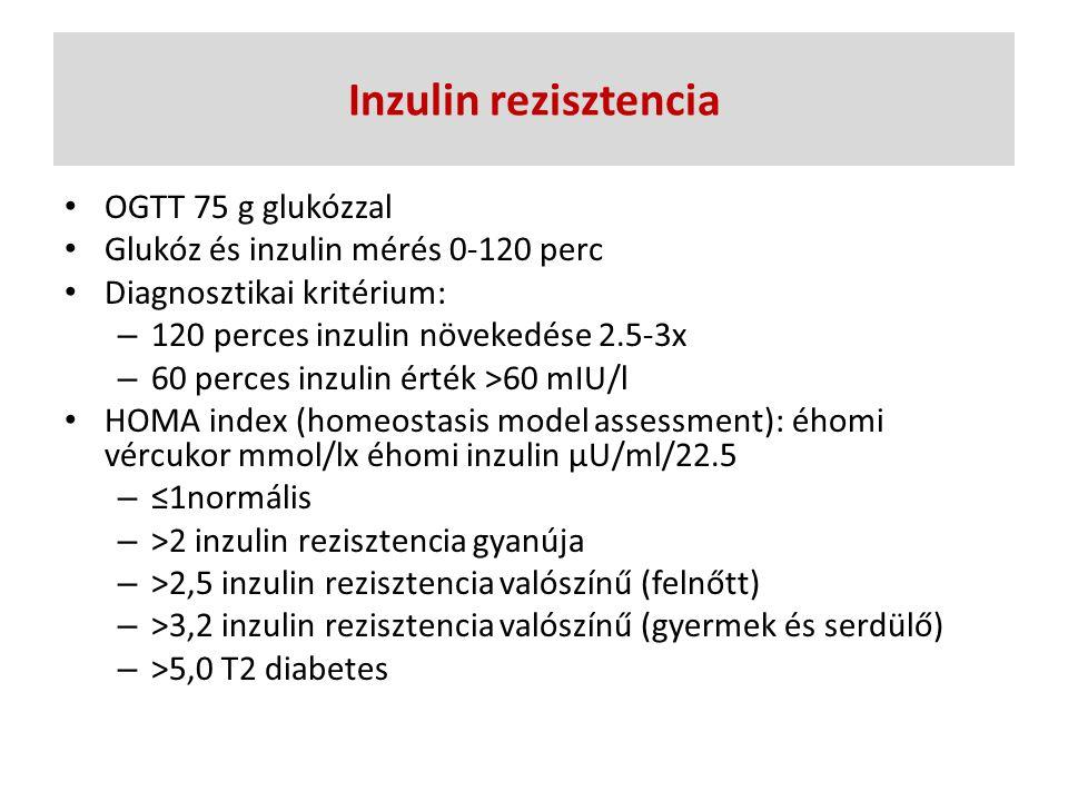 Inzulin rezisztencia OGTT 75 g glukózzal Glukóz és inzulin mérés 0-120 perc Diagnosztikai kritérium: – 120 perces inzulin növekedése 2.5-3x – 60 perce