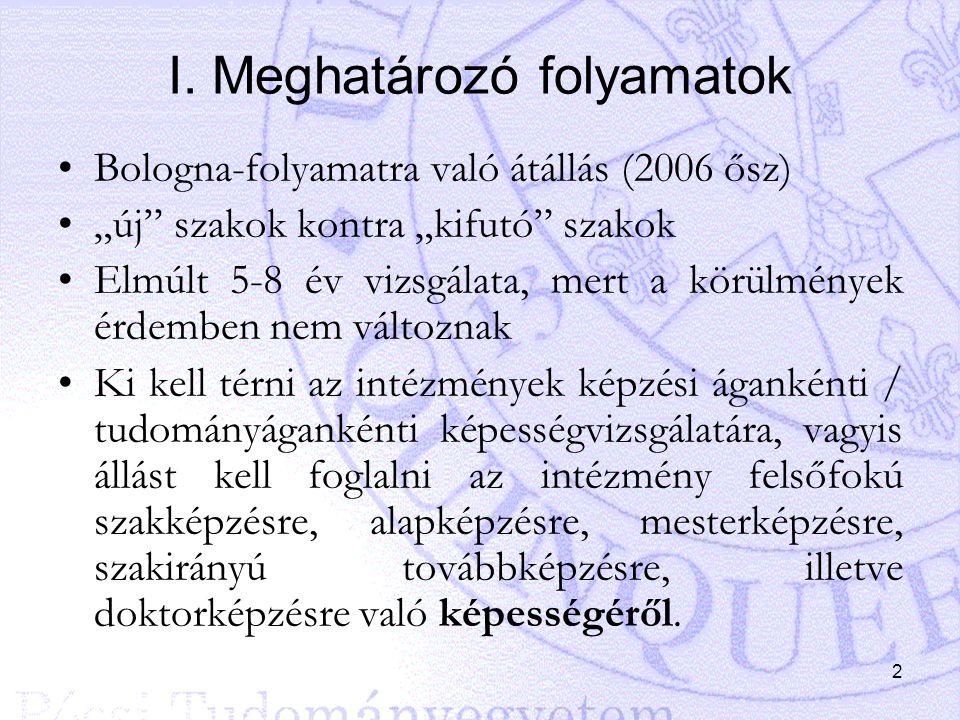 """2 I. Meghatározó folyamatok Bologna-folyamatra való átállás (2006 ősz) """"új"""" szakok kontra """"kifutó"""" szakok Elmúlt 5-8 év vizsgálata, mert a körülmények"""