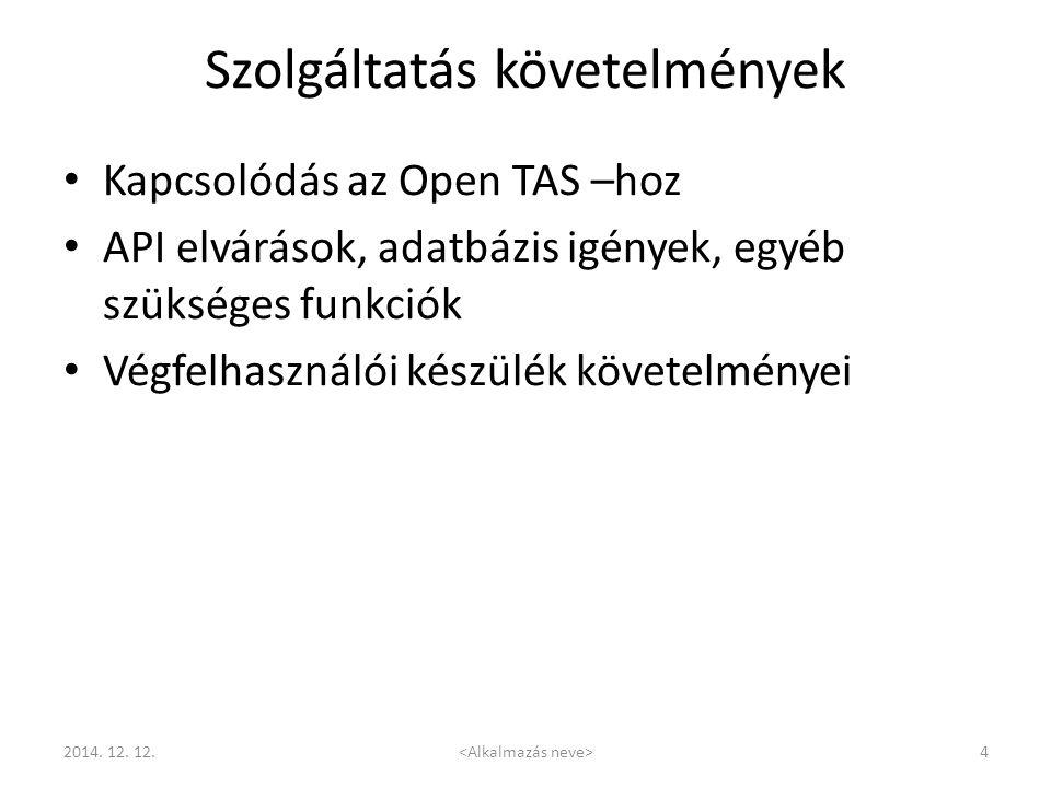 Szolgáltatás követelmények Kapcsolódás az Open TAS –hoz API elvárások, adatbázis igények, egyéb szükséges funkciók Végfelhasználói készülék követelmén