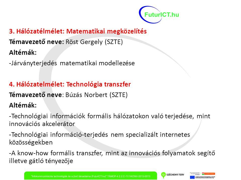 3. Hálózatélmélet: Matematikai megközelítés Témavezető neve: Röst Gergely (SZTE) Altémák: -Járványterjedés matematikai modellezése 4. Hálózatelmélet: