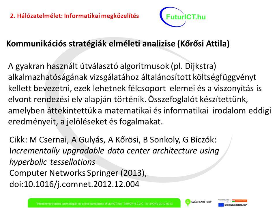 Kommunikációs stratégiák elméleti analizise (Kőrősi Attila) A gyakran használt útválasztó algoritmusok (pl. Dijkstra) alkalmazhatóságának vizsgálatáho