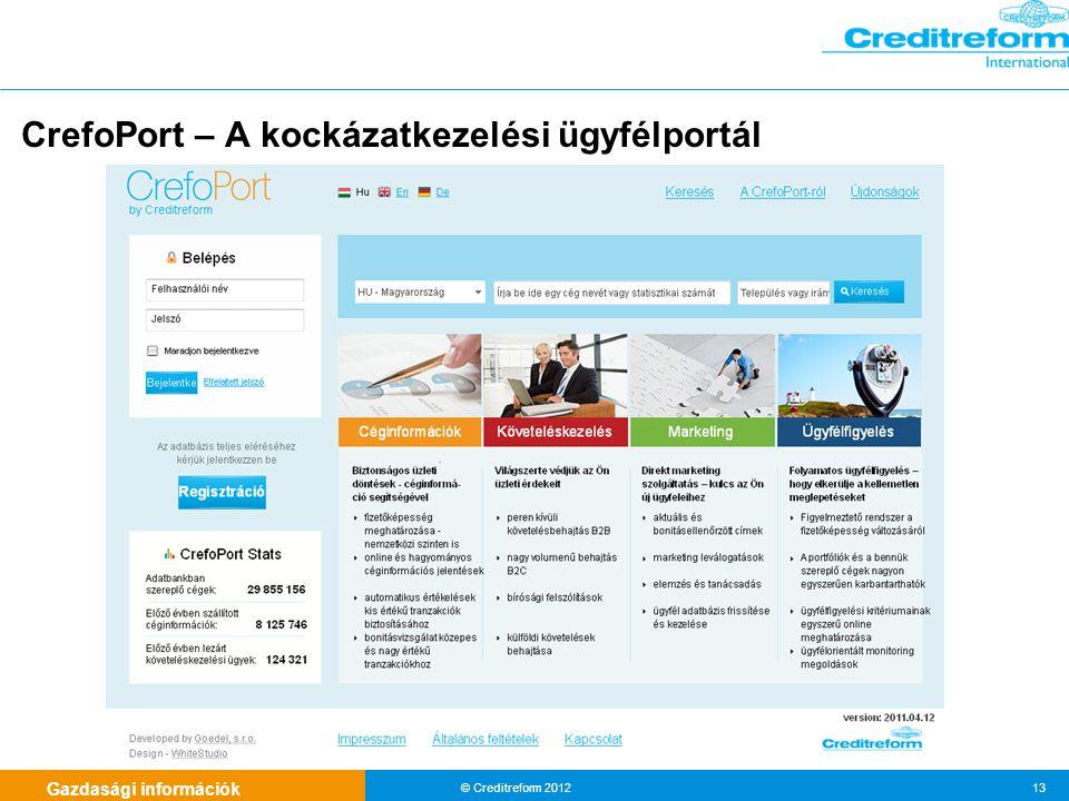 Gazdasági információk © Creditreform 2012 13 CrefoPort – A kockázatkezelési ügyfélportál