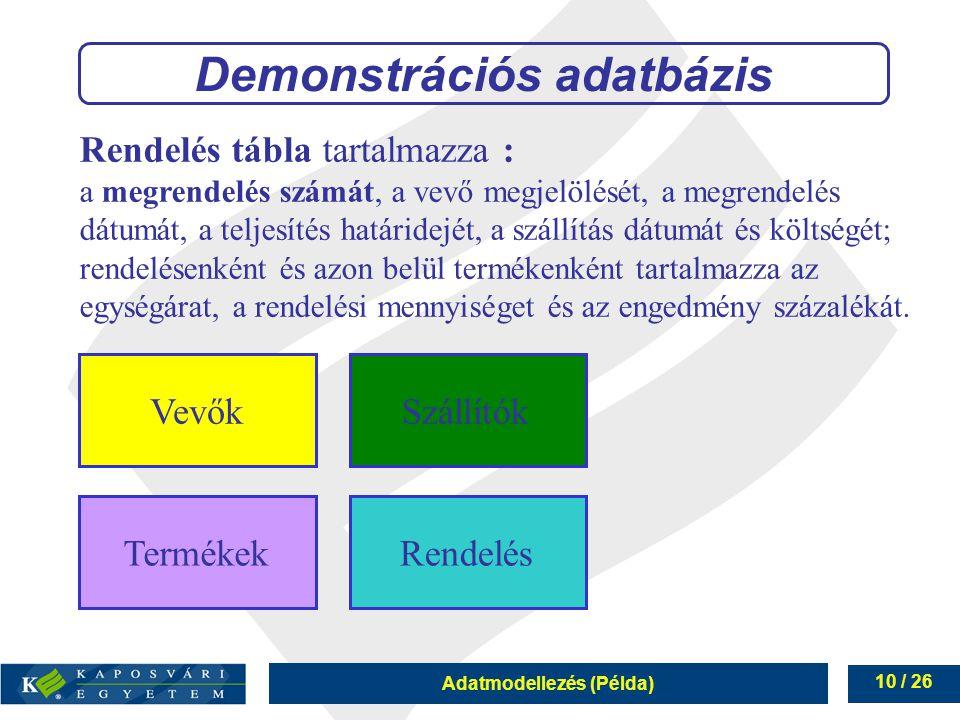 Adatmodellezés (Példa) 10 / 26 Rendelés tábla tartalmazza : a megrendelés számát, a vevő megjelölését, a megrendelés dátumát, a teljesítés határidejét