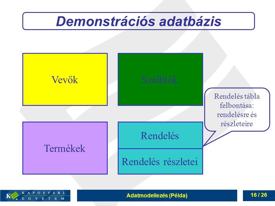 Adatmodellezés (Példa) 16 / 26 Demonstrációs adatbázis VevőkSzállítók Termékek Rendelés Rendelés részletei Rendelés tábla felbontása: rendelésre és ré