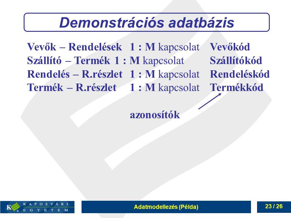Adatmodellezés (Példa) 23 / 26 Demonstrációs adatbázis Vevők – Rendelések1 : M kapcsolatVevőkód Szállító – Termék 1 : M kapcsolat Szállítókód Rendelés