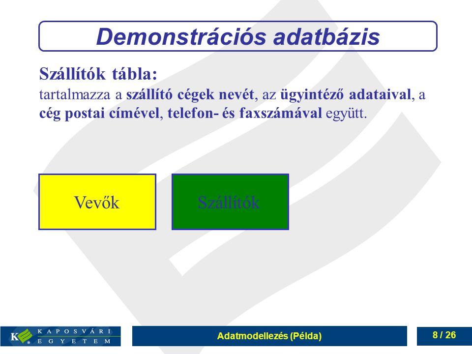 Adatmodellezés (Példa) 8 / 26 Szállítók tábla: tartalmazza a szállító cégek nevét, az ügyintéző adataival, a cég postai címével, telefon- és faxszámáv