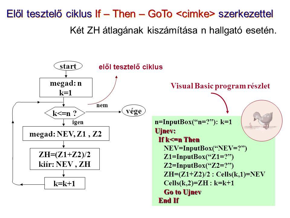 n=InputBox( n= ): k=1Ujnev: If k<=n Then If k<=n Then NEV=InputBox( NEV= ) Z1=InputBox( Z1= ) Z2=InputBox( Z2= ) ZH=(Z1+Z2)/2 : Cells(k,1)=NEV Cells(k,2)=ZH : k=k+1 Go to Ujnev End If End If start megad: n k=1 k<=n .