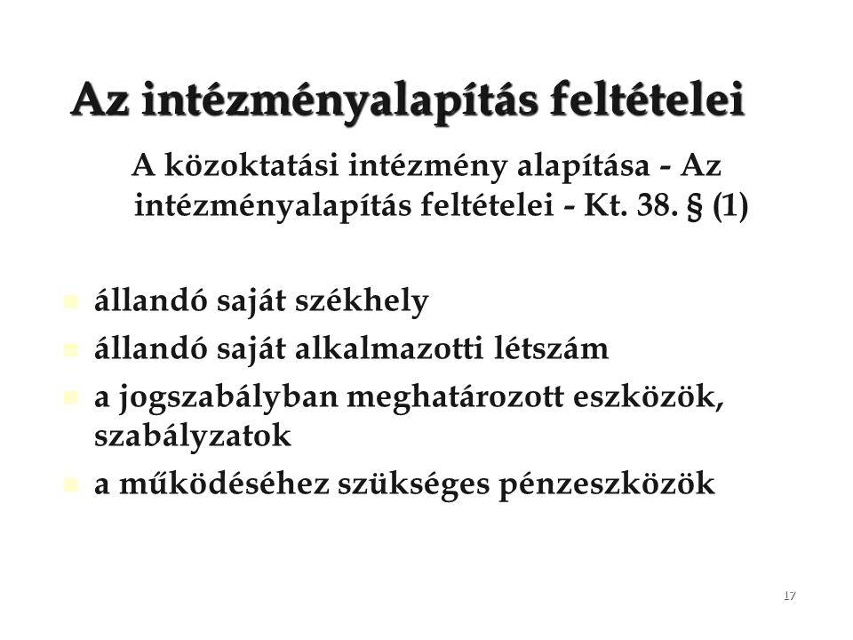 17 Az intézményalapítás feltételei A közoktatási intézmény alapítása - Az intézményalapítás feltételei - Kt. 38. § (1) állandó saját székhely állandó