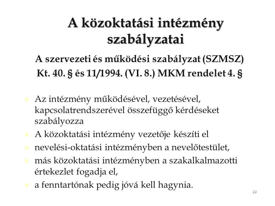 29 A közoktatási intézmény szabályzatai A szervezeti és működési szabályzat (SZMSZ) Kt. 40. § és 11/1994. (VI. 8.) MKM rendelet 4. § Az intézmény műkö