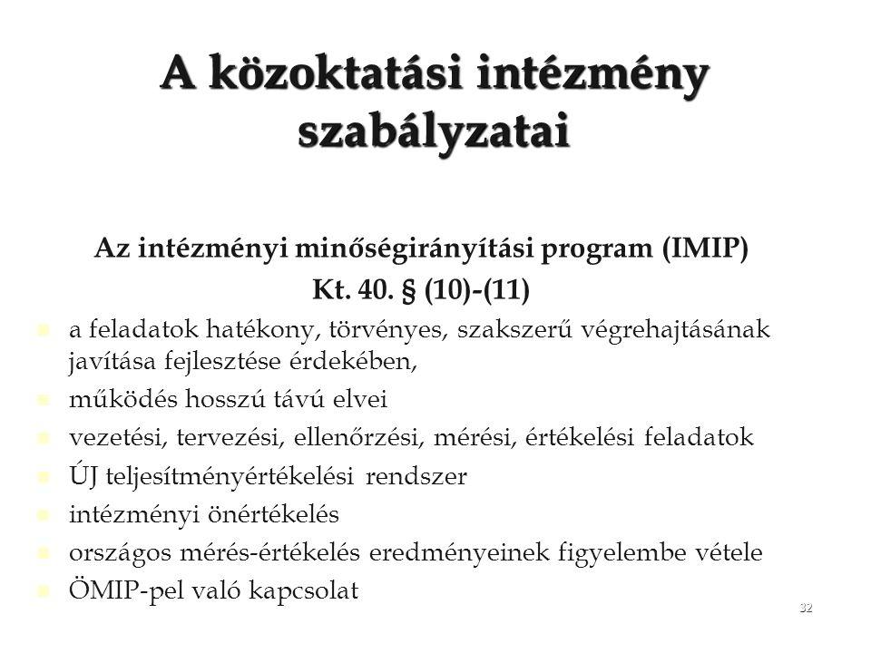 32 A közoktatási intézmény szabályzatai Az intézményi minőségirányítási program (IMIP) Kt. 40. § (10)-(11) a feladatok hatékony, törvényes, szakszerű