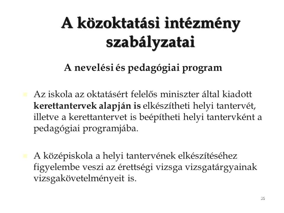 35 A közoktatási intézmény szabályzatai A nevelési és pedagógiai program Az iskola az oktatásért felelős miniszter által kiadott kerettantervek alapjá