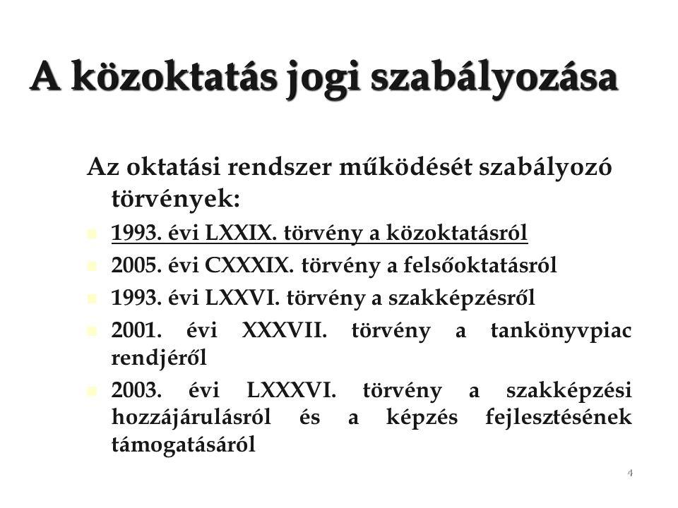 4 A közoktatás jogi szabályozása Az oktatási rendszer működését szabályozó törvények: 1993. évi LXXIX. törvény a közoktatásról 2005. évi CXXXIX. törvé