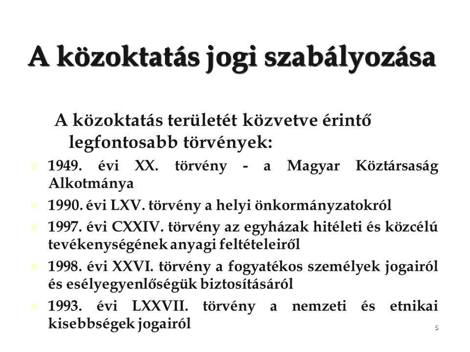5 A közoktatás jogi szabályozása A közoktatás területét közvetve érintő legfontosabb törvények: 1949. évi XX. törvény - a Magyar Köztársaság Alkotmány