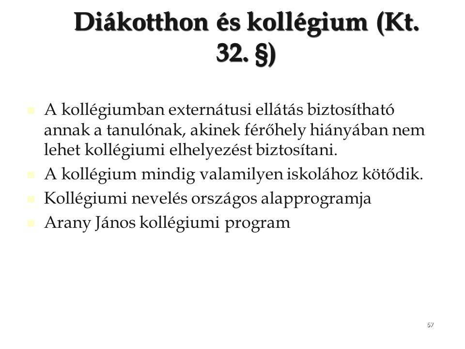 67 Diákotthon és kollégium (Kt. 32. §) A kollégiumban externátusi ellátás biztosítható annak a tanulónak, akinek férőhely hiányában nem lehet kollégiu
