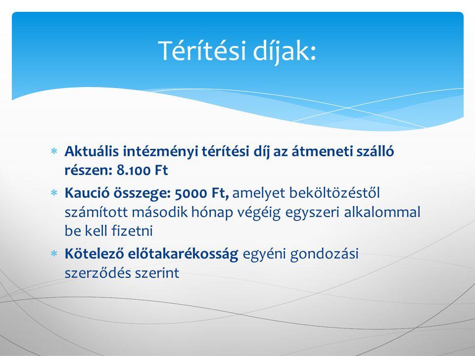  Aktuális intézményi térítési díj az átmeneti szálló részen: 8.100 Ft  Kaució összege: 5000 Ft, amelyet beköltözéstől számított második hónap végéig