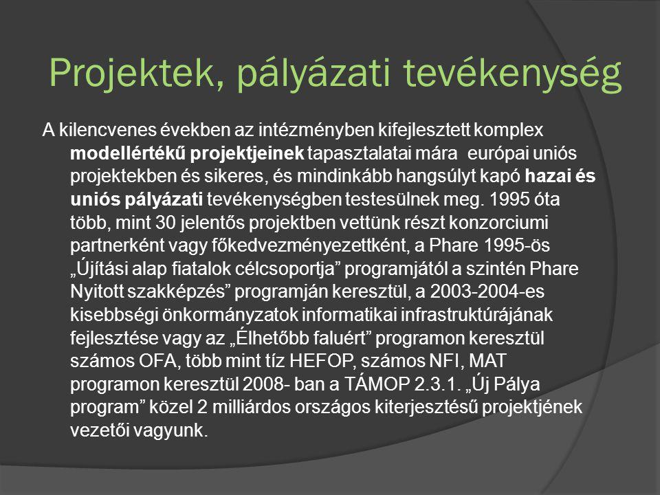 Projektek, pályázati tevékenység A kilencvenes években az intézményben kifejlesztett komplex modellértékű projektjeinek tapasztalatai mára európai uniós projektekben és sikeres, és mindinkább hangsúlyt kapó hazai és uniós pályázati tevékenységben testesülnek meg.