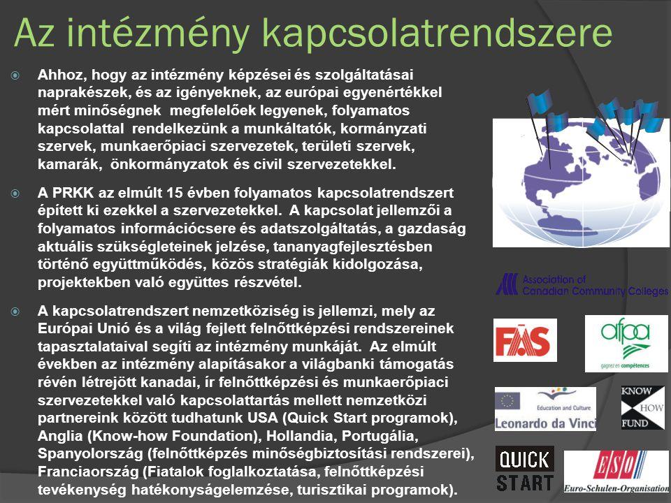 Az intézmény kapcsolatrendszere  Ahhoz, hogy az intézmény képzései és szolgáltatásai naprakészek, és az igényeknek, az európai egyenértékkel mért minőségnek megfelelőek legyenek, folyamatos kapcsolattal rendelkezünk a munkáltatók, kormányzati szervek, munkaerőpiaci szervezetek, területi szervek, kamarák, önkormányzatok és civil szervezetekkel.