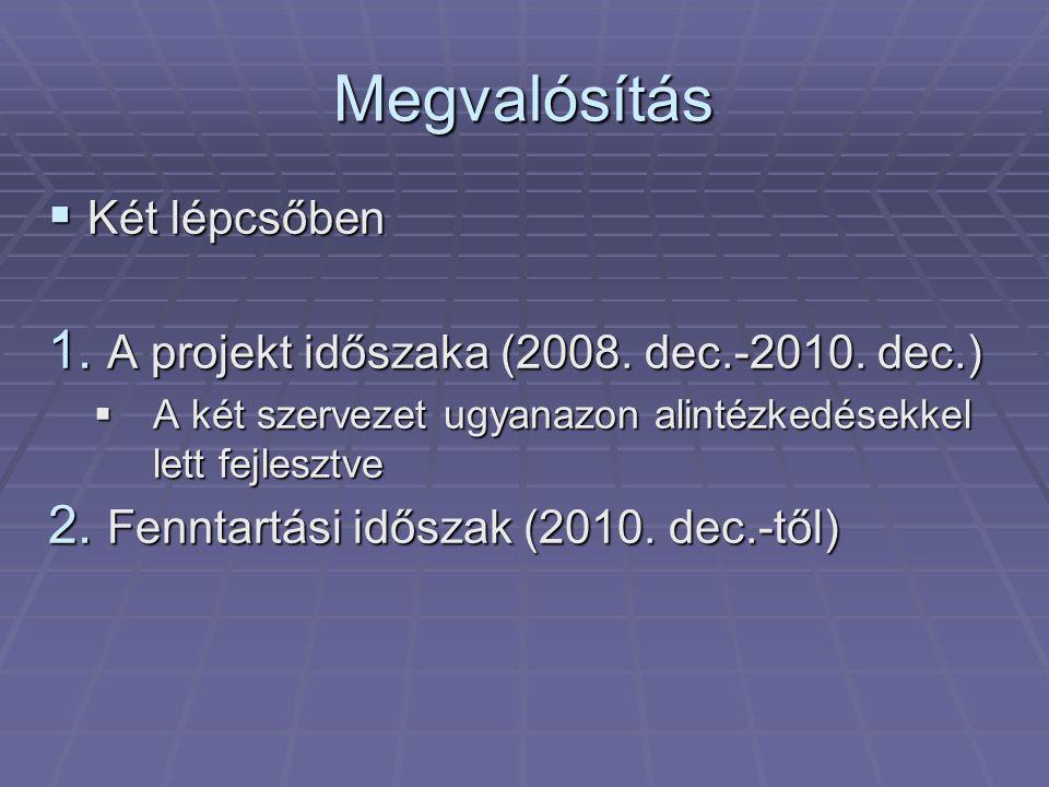 Megvalósítás  Két lépcsőben 1. A projekt időszaka (2008.