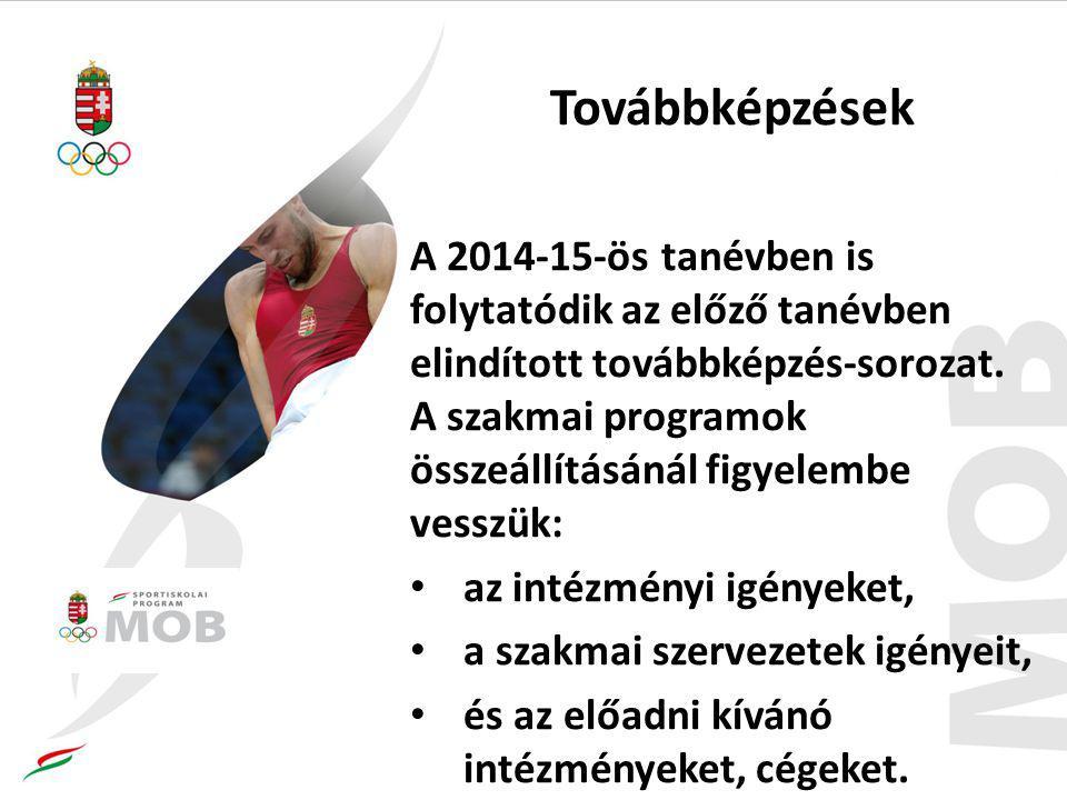 Továbbképzések A 2014-15-ös tanévben is folytatódik az előző tanévben elindított továbbképzés-sorozat. A szakmai programok összeállításánál figyelembe
