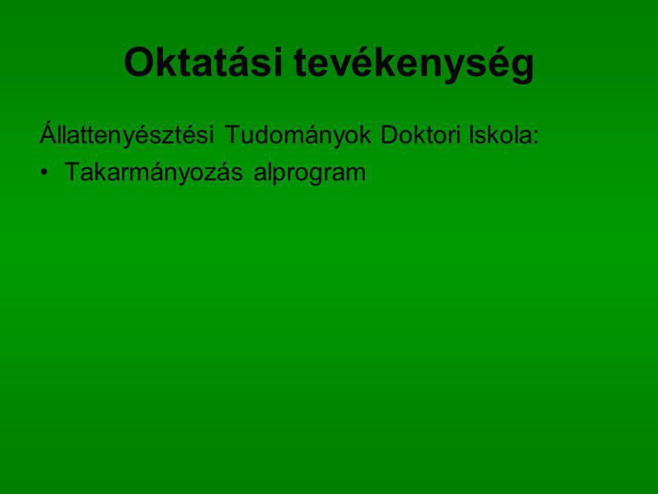 Oktatási tevékenység Állattenyésztési Tudományok Doktori Iskola: Takarmányozás alprogram
