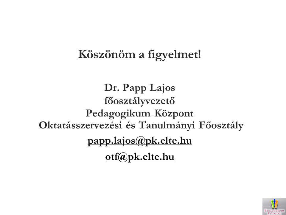Köszönöm a figyelmet! Dr. Papp Lajos főosztályvezető Pedagogikum Központ Oktatásszervezési és Tanulmányi Főosztály papp.lajos@pk.elte.hu otf@pk.elte.h