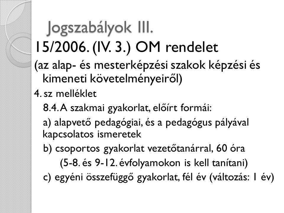 Jogszabályok III. 15/2006. (IV. 3.) OM rendelet (az alap- és mesterképzési szakok képzési és kimeneti követelményeiről) 4. sz melléklet 8.4. A szakmai