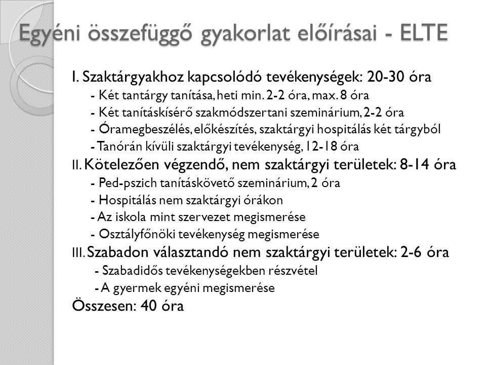 Egyéni összefüggő gyakorlat előírásai - ELTE I. Szaktárgyakhoz kapcsolódó tevékenységek: 20-30 óra - Két tantárgy tanítása, heti min. 2-2 óra, max. 8