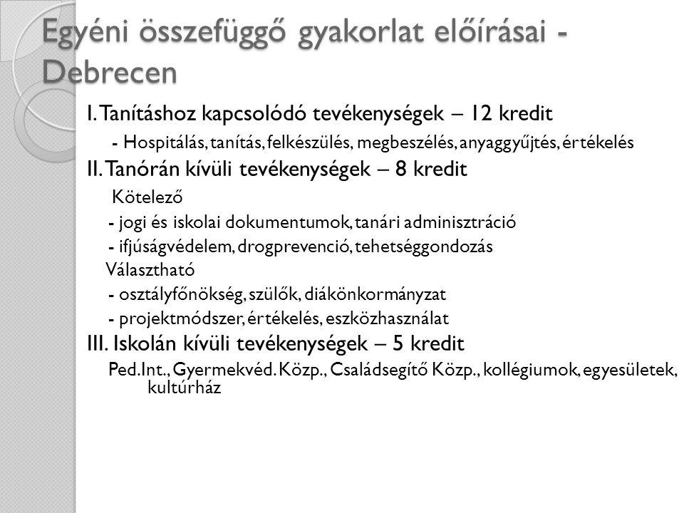 Egyéni összefüggő gyakorlat előírásai - Debrecen I. Tanításhoz kapcsolódó tevékenységek – 12 kredit - Hospitálás, tanítás, felkészülés, megbeszélés, a