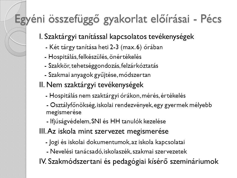 Egyéni összefüggő gyakorlat előírásai - Pécs I. Szaktárgyi tanítással kapcsolatos tevékenységek - Két tárgy tanítása heti 2-3 (max. 6) órában - Hospit
