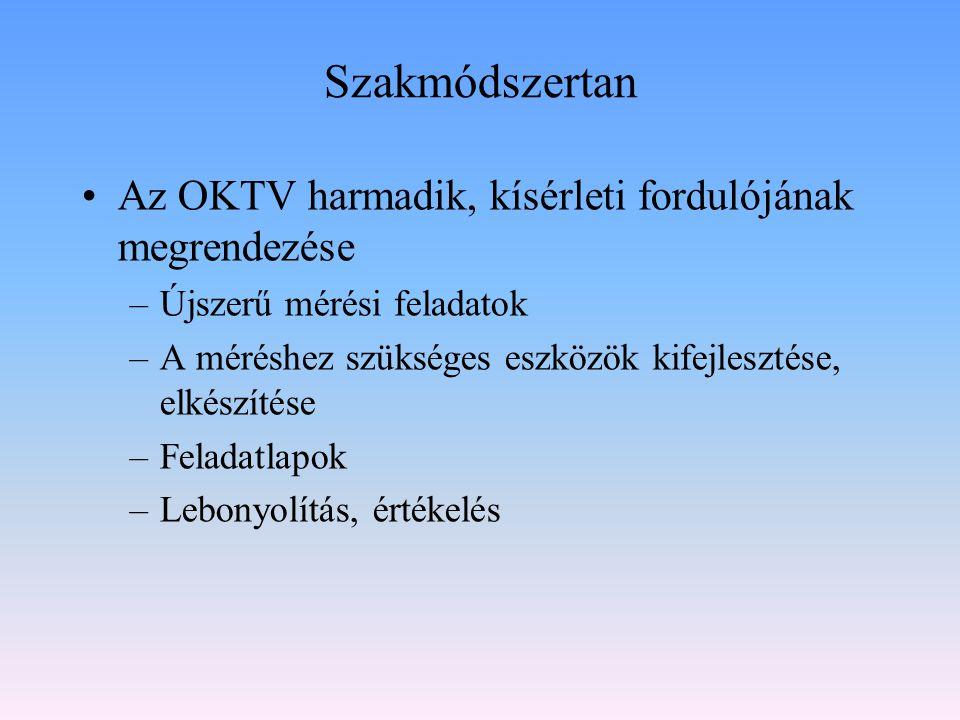 Szakmódszertan Az OKTV harmadik, kísérleti fordulójának megrendezése –Újszerű mérési feladatok –A méréshez szükséges eszközök kifejlesztése, elkészíté