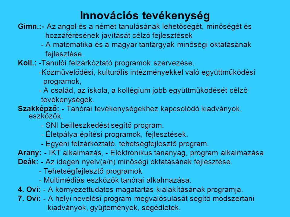 Innovációs tevékenység Gimn.:- Az angol és a német tanulásának lehetőségét, minőségét és hozzáférésének javítását célzó fejlesztések - A matematika és a magyar tantárgyak minőségi oktatásának fejlesztése.