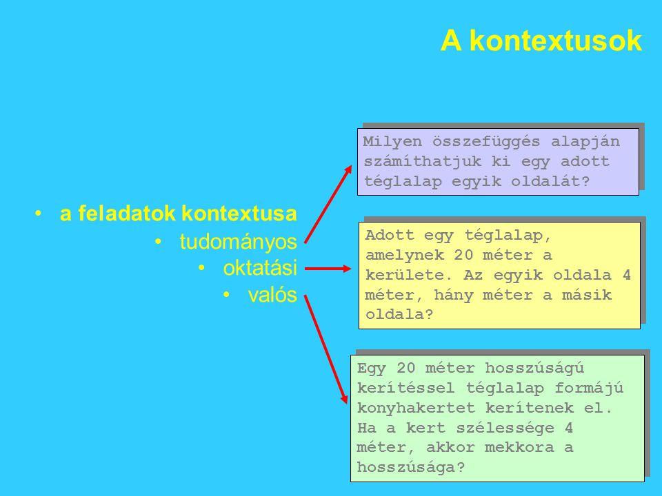 A kontextusok a feladatok kontextusa tudományos oktatási valós Milyen összefüggés alapján számíthatjuk ki egy adott téglalap egyik oldalát.