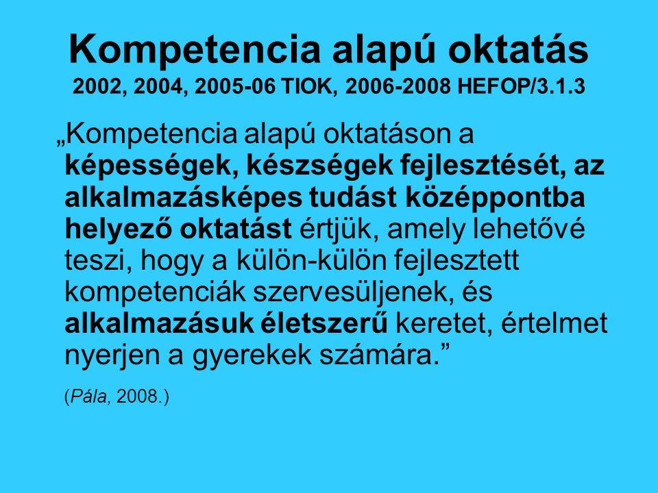 """Kompetencia alapú oktatás 2002, 2004, 2005-06 TIOK, 2006-2008 HEFOP/3.1.3 """"Kompetencia alapú oktatáson a képességek, készségek fejlesztését, az alkalmazásképes tudást középpontba helyező oktatást értjük, amely lehetővé teszi, hogy a külön-külön fejlesztett kompetenciák szervesüljenek, és alkalmazásuk életszerű keretet, értelmet nyerjen a gyerekek számára. (Pála, 2008.)"""
