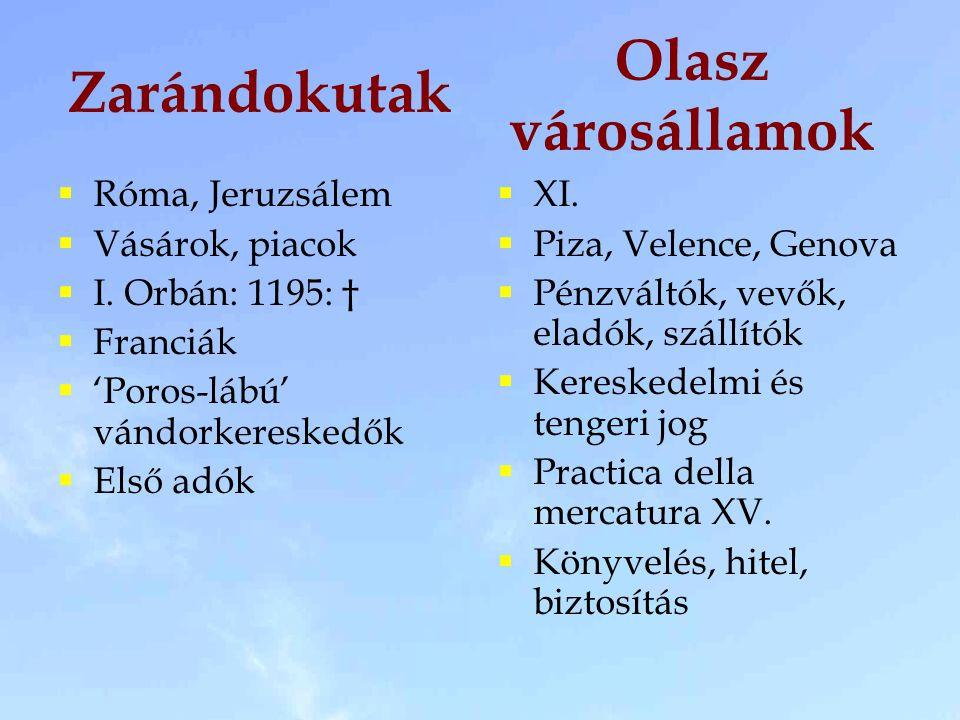 Zarándokutak  Róma, Jeruzsálem  Vásárok, piacok  I. Orbán: 1195: †  Franciák  'Poros-lábú' vándorkereskedők  Első adók  XI.  Piza, Velence, Ge