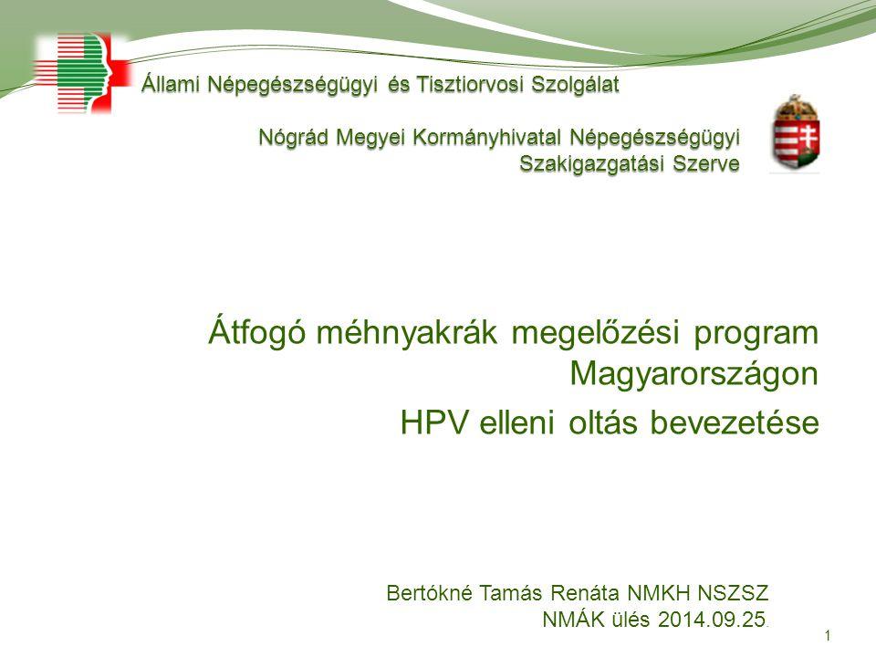 Átfogó méhnyakrák megelőzési program Magyarországon HPV elleni oltás bevezetése 1 Állami Népegészségügyi és Tisztiorvosi Szolgálat Állami Népegészségü