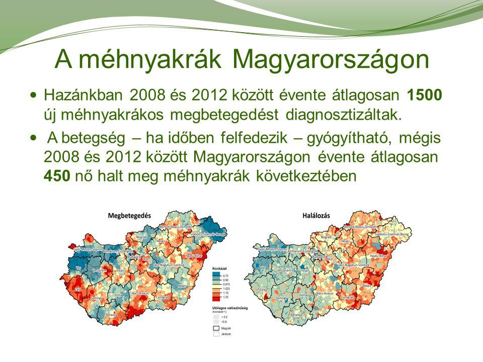 A méhnyakrák Magyarországon Hazánkban 2008 és 2012 között évente átlagosan 1500 új méhnyakrákos megbetegedést diagnosztizáltak. A betegség – ha időben