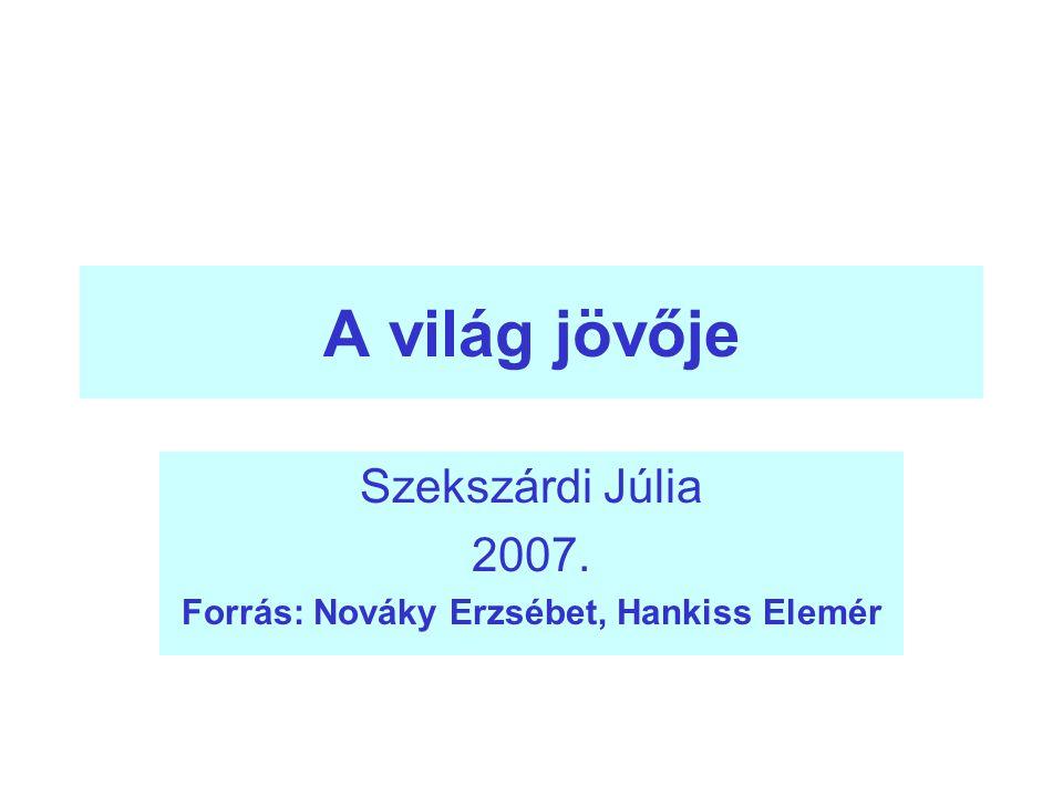 A világ jövője Szekszárdi Júlia 2007. Forrás: Nováky Erzsébet, Hankiss Elemér
