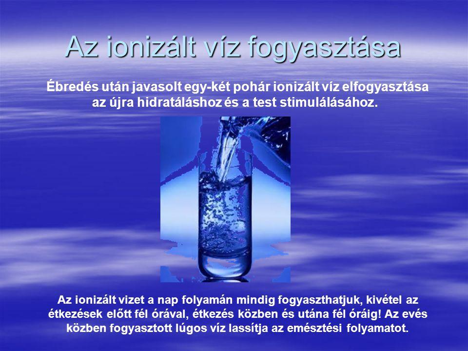 Az ionizált víz fogyasztása Ébredés után javasolt egy-két pohár ionizált víz elfogyasztása az újra hidratáláshoz és a test stimulálásához. Az ionizált