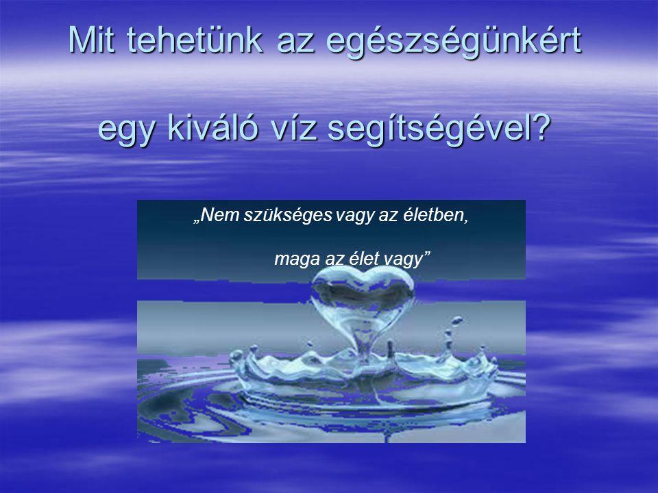 """Mit tehetünk az egészségünkért egy kiváló víz segítségével? """"Nem szükséges vagy az életben, maga az élet vagy"""""""
