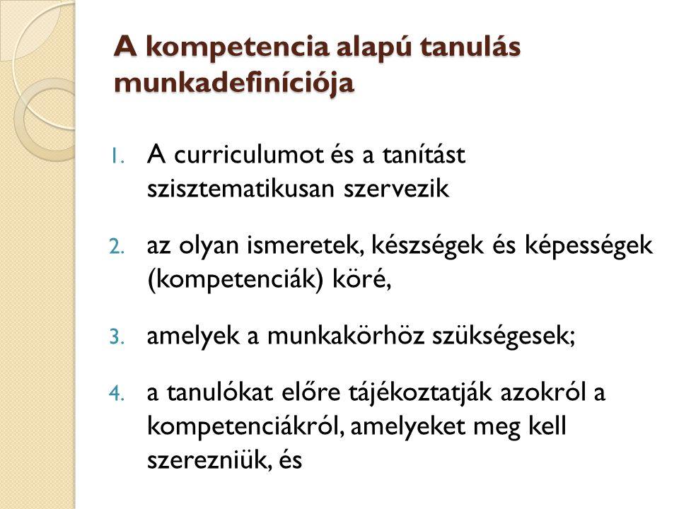A kompetencia alapú tanulás munkadefiníciója 1.