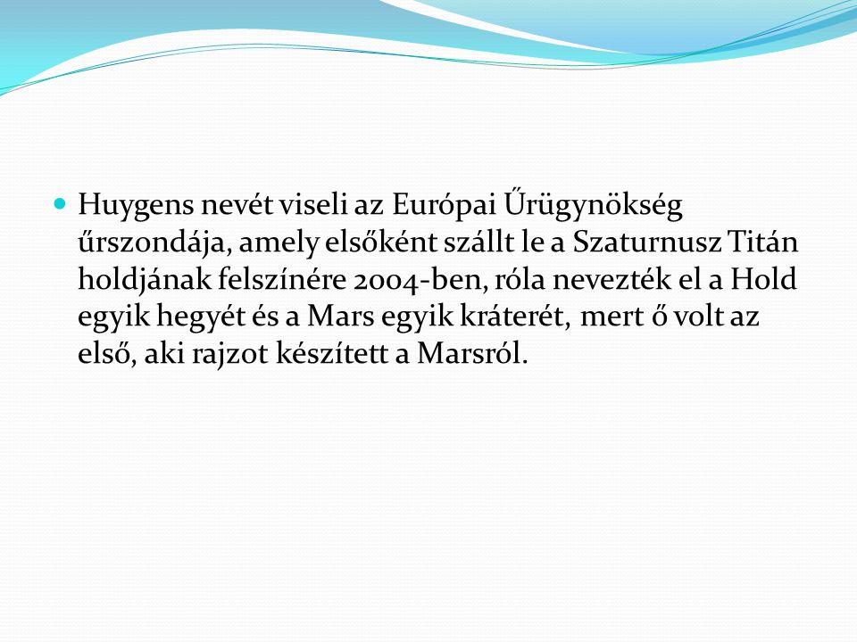Huygens nevét viseli az Európai Űrügynökség űrszondája, amely elsőként szállt le a Szaturnusz Titán holdjának felszínére 2004-ben, róla nevezték el a Hold egyik hegyét és a Mars egyik kráterét, mert ő volt az első, aki rajzot készített a Marsról.