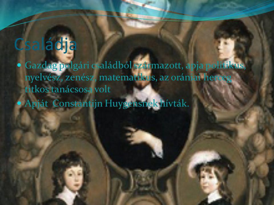 Családja Gazdag polgári családból származott, apja politikus, nyelvész, zenész, matematikus, az orániai herceg titkos tanácsosa volt Apját Constantijn Huygensnek hívták.